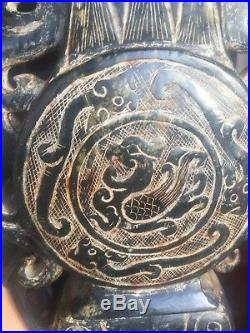 Antique Imperial Black Jade Massive Lidded Carving Vase in the shape of Dragon