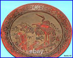 Antique Imperial Chinese Handcarved Red Lacquer Cinnabar Bird Kangxi Mark Plate