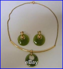 Antique Imperial Chinese Natural Jade JADEITE 12k Gold Filled Earrings Necklace