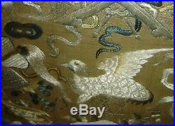 Antique Imperial Chinese Qing Silk Embroidery Framed Panel With Bats Birds Fish