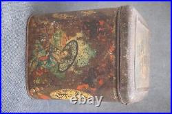 Antique Imperial Russian Perlov Litho Chinese Monk&Geisha Tea Caddy Tin Case Box