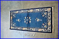 Antique Khotan Tonga Chinese Carpet, Double Knotted soft Royal Blue Colour Combin