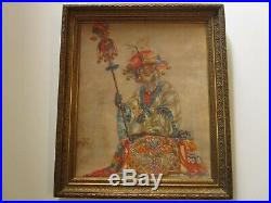Antique Monkey Painting Portrait Asian Chinese Royal Attire Mystery Art Deco
