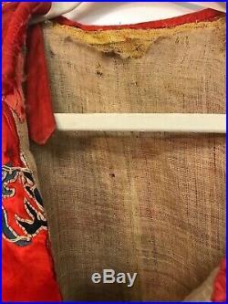 Antique Original Chinese Asian Dragon Qing Dynasty Royal Court Robe Silk