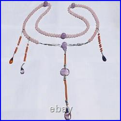 Antique Qing Chinese Imperial Court Necklace Silver Amethyst Coral Cloisonne