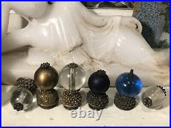 Antique Qing Dynasty Chinese Imperial Clear Blue Peking Glass Hat Button Finial
