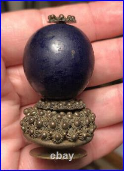 Antique Qing Dynasty Chinese Imperial Dark Blue Peking Glass Hat Button Finial