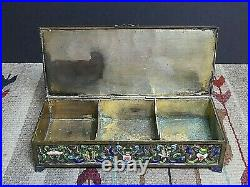 Antique Qing Dynasty Imperial Champleve Meander Charms Enamel Ware Covered Box
