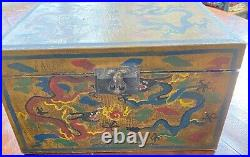 Antique Qing Dynasty Imperial Chinese Painted Wooden Lacquer Box Dragons WW197