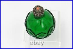 Antique Qing Emerald Green Glass Lotus Carving Snuff Bottle Imperial Glassworks