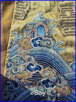 Antique Quality Embroidered Chinese Qing Imperial Yellow Silk Robe Panel