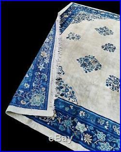 Antique Royal Blue Chinese Rug Circa 1930's 337 cm x 288 cm 11' x 9' 5 Handmade