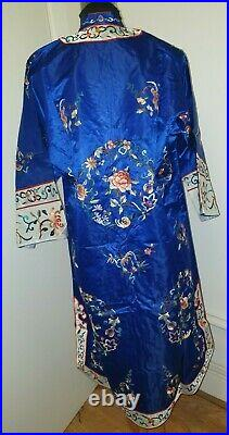Antique Royal Blue Kimono Hand Enbroidered 100% Pure Silk Chinese Golden Deer
