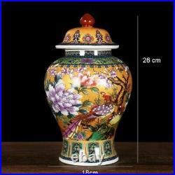 Antique Royal Golden Pheasant Ceramic Cloisonne Enamel General Tank Vase Fortune
