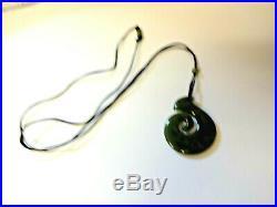 Antique Royal Grade A Translucent Green Jade Jadeite Nephrite Pendant Necklace