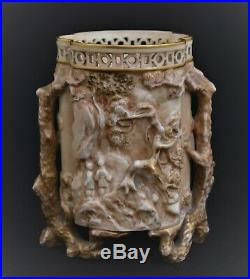 Antique Royal Worcester Blush Ivory Gilded Vase 3d Trees Chinese View