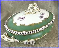 Antique Royal Worcester Porcelain Chinese Chippendale Tureen Serving Bowl 1920s