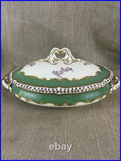 Antique Royal Worcester Tureen Serving Bowl Dish Chinese Chippendale RARE