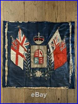 Antique Silk Embroidery Trapunto Banner WWI Royal Navy Flags Photo Frame Chinese