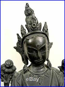 Antique Sino Tibetan Chinese Bronze Tara Seated Royal Ease Figure w Marble Base