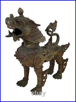 Antique Tibetan Foshi Buddhist Lion, Foo Dog, Imperial Temple Guardian 11.25 H
