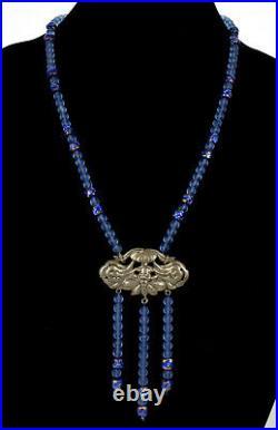 Antique Venetian Royal Blue Foil Glass & Chinese Peking Glass Bead Necklace