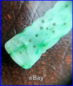 Antique Victorian Moss in Snow Apple Jade Chinese Carved Pendant Imperial Green