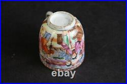 Antique chinese export porcelain tea wine cup figures 18thC imperial scene