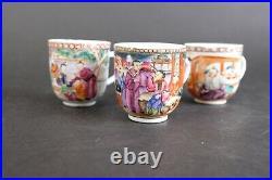 Antique chinese export porcelain tea wine cups figures 18thC imperial scenes