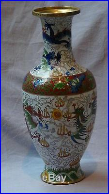 Antiue19c Chinese Cloisonne Vase 5 Clawed Imperial Dragon, Flaming Pearl#1