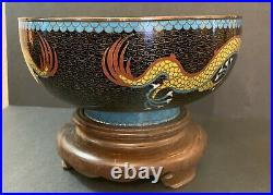 Beautiful Antique Chinese Cloisonne Bowl 5 TOE / Claw IMPERIAL DRAGON LARGE