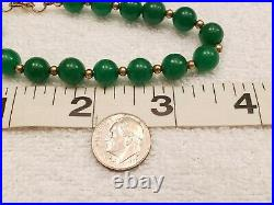 Beautiful! Imperial Green Jadeite Nephrite Jade Bead Bracelet 14.2g