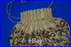 Beautiful ULTRA RARE Silk China Imperial Purse Gold Silver Frog House Antique