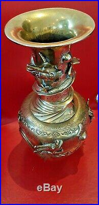Beautiful c1860 rare chinese bronze vase, 5 claws royal dragons sculpted vase