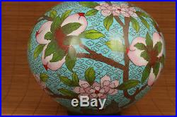 Big antique royal cloisonne hand carved peach bird vase collectable ornament