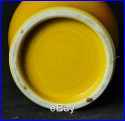 C1900 Chinese Monochrome Imperial Peking Yellow Porcelain Vase Antique