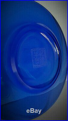 CHRISTIE'S Rare Antique Chinese IMPERIAL TRANSLUCENT BLUE & white Plate Qianlong