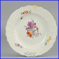 Ca 1800 Danish Royal Copenhagen Porcelain Plate Flowers Marked