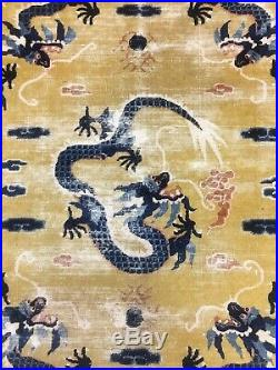 Ca. 1800 Old Antique Imperial Dragon Design Chinese Ningxia Rug 7.11x5.2 Ft
