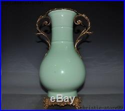 China Royal noble green glaze porcelain Inlay Bronze Phoenix Bottle Pot Vase Jar