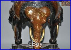 China Royal temple pure purple bronze Elephant nose Incense burner Censer statue