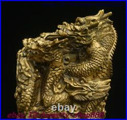 Chinese Ancient Dynasty Brass God Dragon Beast imperial Seal Stamp Signet Statue