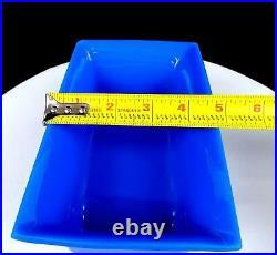 Chinese Antique Peking Glass Royal Blue 7 3/4 Rectangle Planter 1900-1930