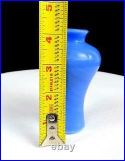 Chinese Antique Peking Glass Royal Blue Mini 4 1/8 Baluster Vase 1900-1930