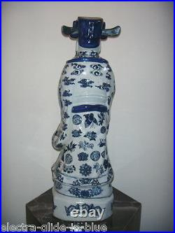 Chinese Blue & White Imperial Figure Late Qing Dynasty C1911 (cf006)