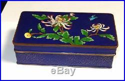 Chinese Cloisonne Royal Blue Enamel Floral Trunk Box
