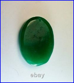 Chinese Dark Green Imperial Jade Lady's Face Cameo Pendant