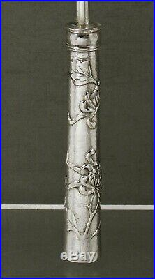 Chinese Export Silver Button Hook c1890 Royal Chrysanthemum