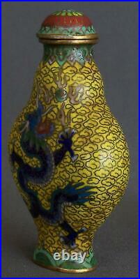 Chinese Imperial Yellow Ground Cloisonne Snuff Bottle w. Dragons & Qianlong Mark