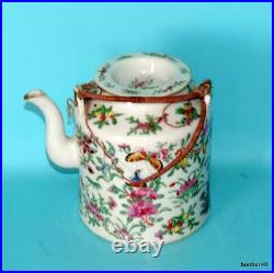 Chinese Porcelain 19thc Antique Imperial Canton Rose Medallion Teapot